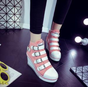 [มีหลายสี] รองเท้าผ้าใบส้นสูง หุ้มข้อ แต่งเข็มขัด น้ำหนักเบา ทรงสวย แฟชั่นสไตล์เกาหลี ส้นสูง 3 นิ้ว