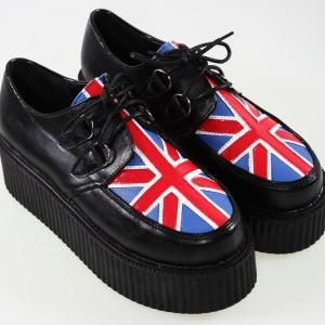 [พร้อมส่ง] รองเท้าแพลตฟอร์มส้นตึก แฟชั่นหนังpu ลายธงชาติอังกฤษ ผูกเชือก สไตล์ฮาราจูกุ สูง 5 ซม.