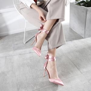 [มีหลายสี] รองเท้าคัชชูหัวแหลมส้นสูง ส้้นเข็ม หนังไมโครไฟเบอร์ คุณภาพสูง แต่งผ้าซาตินพันข้อ สวยเก๋ ดูแพง ส้นสูง 4 นิ้ว