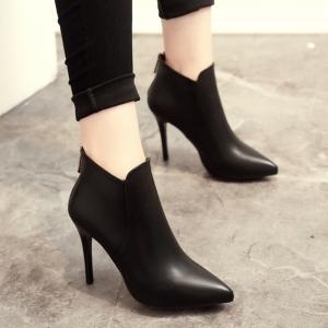 รองเท้าบูทสั้น หัวแหลม ส้นสูง แฟชั่นหนัง PU สีดำ ซิปด้านหลัง สวย สไตล์อังกฤษ ส้นสูง 3.5 นิ้ว