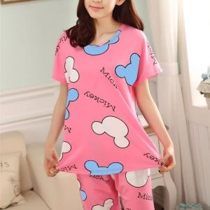 ชุดนอนแขนสั้นน่ารักลายมิกกี้สีชมพู