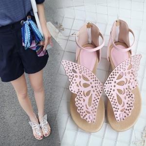 [มีหลายสี] รองเท้าแตะคีบ หนัง pu ส้นแบน หน้าผีเสื้อ ซิปหลัง มีสายรัดข้อ งานสวย (ไซส์ 32-44)