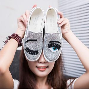 [มี2สี] รองเท้าแพลตฟอร์ม หนังแท้ ผสมหนังpu ทรงรองเท้าผ้าใบ รูปตา แต่งเลื่อม สวยเก๋ แฟชั่นสไตล์เกาหลี