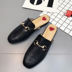 รองเท้าคัทชู เปิดส้น หนังpu นิ่ม งานปัก แต่งอะไหล่ด้านหน้า งานสวย สไตล์กุชชี่ (ครบไซส์ 34-41)