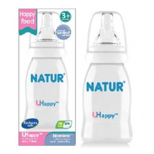 ขวดนม NATUR รุ่น uhappy ขนาด 4 oz (พร้อมจุกกันลำลัก ไม่ดูด ไม่ไหล)