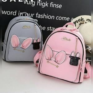 [มีหลายสี] กระเป๋าเป้สะพายหลังผู้หญิง แฟชั่นหนัง pu แต่งหูกระต่าย น่ารัก