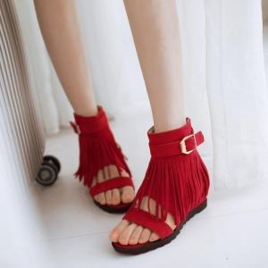 [มีหลายสี] รองเท้าแตะเสริมส้น ทรงหุ้มข้อ แต่งพู่ สไตล์คาวบอย ซิปด้านหลัง