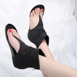 [มี2สี] รองเท้าแตะคีบ แฟชั่นหนัง pu หุ้มข้อ ซิปหลัง