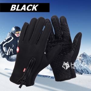 ถุงมือกันหนาว กันความเย็น เต็มนิ้ว : สีดำ Black รหัส GT021
