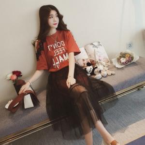 [มีหลายสี] ชุดเซต เสื้อยืดคอกลม แขนสั้น เปิดไหล่ข้างเดียว เก๋ๆ แต่งลายลูกไม้ + กระโปรงยาวผ้าตาข่าย พริ้วสวย สไตล์เกาหลี