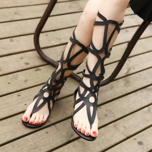 [มี2สี] รองเท้าแต่ส้นแบน แบบหนีบ ทรงสาน รัดรอบขา สูงระดับเข่า ซิปด้านหลัง แฟชั่นสไตล์ยุโรป