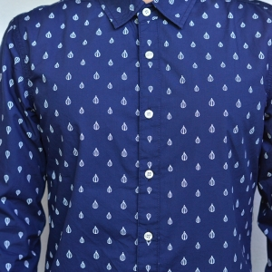 ME012 เสื้อเชิ้ตผู้ชายสีน้ำเงิน ลายบอลลูน