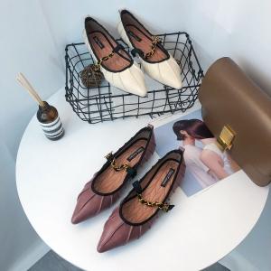 [มีหลายสี] รองเท้าคัทชูแฟชั่น ส้นแบน โซ่คาดหน้า