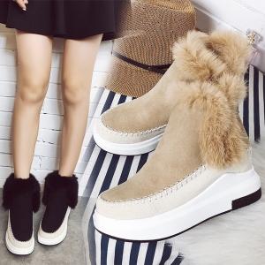 [มี2สี] รองเท้าบูทผู้หญิงกันหนาว หนังนิ่ม เสริมส้นสูงด้านในสไตล์เกาหลี