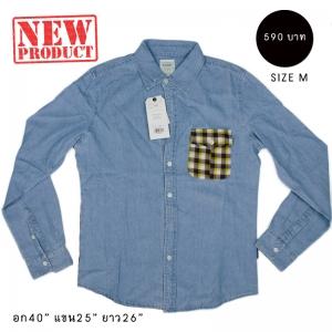 WE008 NEW เสื้อลายสก๊อตผสมผ้ายีนส์