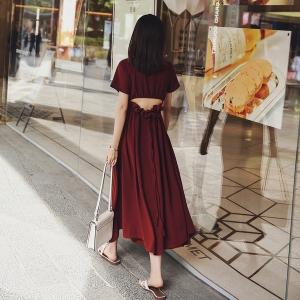 [มีหลายสี] แม็กซี่เดรส ผ้าชีฟองมีซับด้านใน แขนสั้น คอวี เว้าเอวด้านหลัง ผูกเป็นโบว์ งานสวยมากค่ะ