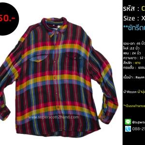C2103 เสื้อลายสก๊อต สีแดง ผ้า Rayon