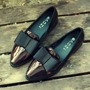 [มีสองสี] รองเท้าคัชชู ส้นเตี้ย แฟชั่นหนังแท้ แต่งโบว์ สไตล์อังกฤษ
