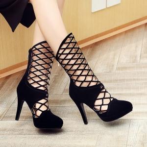 [มีหลายสี] รองเท้าผู้หญิงส้นสูง ทรงสาน ตาข่ายแฟชั่นหนังpu นิ่ม เซ็กซี่ไนท์คลับ ซิปด้านหลัง สวยสไตล์ยุโรป ส้นสูง 4 นิ้ว
