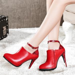 [มี2สี] รองเท้าบูทสั้น ส้นสูง ลายงู หนังไมโครไฟเบอร์ แต่งเข็มขัดรัดข้อ ซิปด้านใน ทรงสวยสไตล์ยุโรป ส้นสูง 4.5 นิ้ว