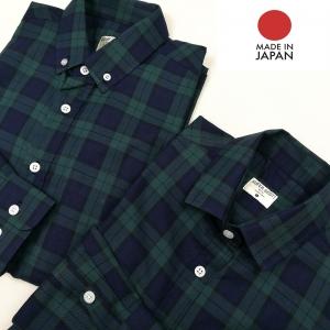เสื้อเชิ้ตลายสก๊อตผู้ชายสีเขียว ผ้านำเข้าจากญี่ปุ่น