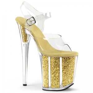[มีหลายสี] รองเท้าส้นสูงใส่ออกงาน หน้าคาดพลาสติกใส แต่งหัวเข็มขัดพลาสติกใสรัดส้น ส้นแต่งกลิตเตอร์ ทรงสวยเซ็กซี่ ส้นสูง 6 นิ้ว
