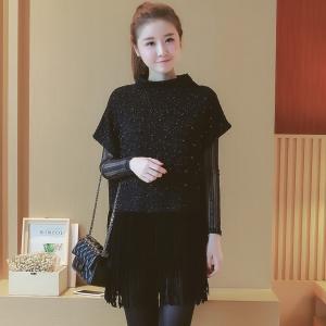 set เสื้อแฟชั่นสีดำเกาหลี ด้านในแขนยาว ตัวเสื้อด้านนอกแต่งกลิตเตอร์ แต่งพู่ เซ็ท 2 ชิ้น ทรงสวยสไตล์เกาหลี