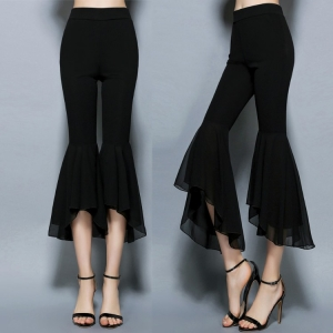 กางเกงขายาว ผ้ายืด ใยสังเคราะห์ ขากระดิ่ง หน้าสั้น-หลังยาว สวยพริ้ว สไตล์เกาหลี