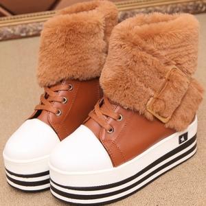[มี2สี] รองเท้าผ้าใบกันหนาว แฟชั่นหนังpu ส้นตึก ขนเฟอร์ ทรงสวยน่ารักสไตล์เกาหลี (ส้นสูง 2 นิ้ว / เสริมส้น 1 นิ้ว)