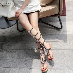 [มี2สี] รองเท้าแตะคีบ ส้นแบน ทรงสานสูงระดับเข่า วัสดุหนังแท้คุณภาพสูง ประดับเพชรสวยหรู