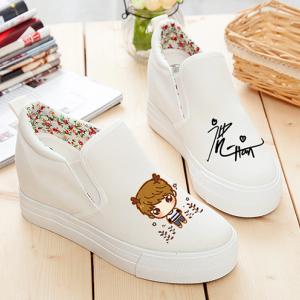 [มีหลายแบบ] รองเท้าผ้าใบเสริมส้นทรงสวย รุ่นไม่หุ้มข้อ ลายน่ารักๆ สไตล์เกาหลี