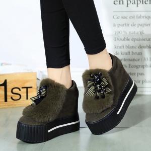 [มี2สี] รองเท้าส้นตึกมัฟฟิน แฟชั่นหนังนิ่ม แต่งขนเฟอร์ ทรงสวยน่ารักสไตล์เกาหลี ส้นสูง 4.5 นิ้ว