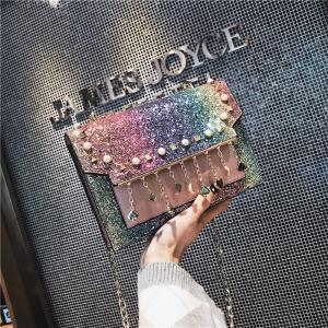 [มีหลายสี] กระเป๋าสะพายข้างแฟชั่นเกาหลี แต่งกลิตเตอร์