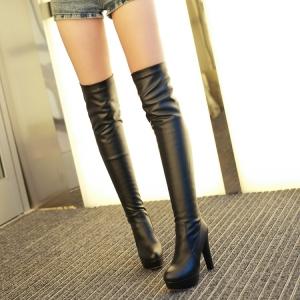 [มีหลายสี] รองเท้าบูทยาวส้นสูงเกาหลี แฟชั่นหนัง pu ทรงสวย ใส่เที่ยวอุ่นๆ แฟชั่นหน้าหนาว (สินค้ามีแบบกำมะหยี่ขนสัตว์ด้านใน และแบบธรรมดา)