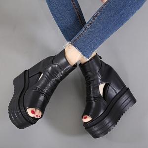 รองเท้าเสริมส้น หนัง pu สีดำ ทรงหัวปลาหุ้มข้อ ซิปด้านหลัง สวยสไตล์เกาหลี ส้นสูง 5 นิ้ว