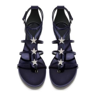 รองเท้าแตะทรงสาน หนังไมโครไฟเบอร์+ผ้าซาติน สีม่วง แต่งหัวเข็มขัดรัดข้อ แต่งเพชรรูปดาว