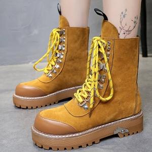 [มี2สี] รองเท้าบูทสั้นผู้หญิงทรงมาร์ติน หนังนิ่ม สวย แฟชั่นสไตล์อังกฤษ ย้อนยุค ส้นสูง 2 นิ้ว รวมด้านใน