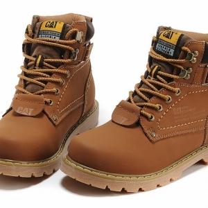 [พร้อมส่ง] รองเท้าบูท CAT-CATERPILLAR สีน้ำตาล รองเท้าเดินป่า แฟชั่นหนังแท้ พื้นยาง ไซส์39 (ขนาดเท่ารองเท้าผ้าใบเบอร์40 หรือความยาวเท้า 25.5 ซม.)