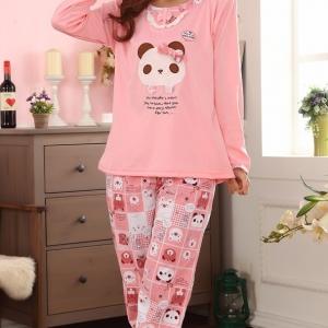 ชุดนอนแขนยาวสีชมพู ลายหมีแพนดาน่ารัก