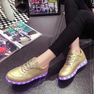 รองเท้า LED มีไฟเรืองแสง แฟชั่นหนัง PU สีทอง หุ้มส้น แบบร้อยเชือก ปรับเปลี่ยนแสงไฟได้ 7 สี 8 แบบ พร้อมสายชาร์จ USB