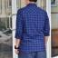 เสื้อลายสก๊อตผู้ชายสีน้ำเงิน ทรง Western กระดุมมุก thumbnail 5