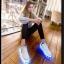 รองเท้ามีไฟ รองเท้า LED สีขาว มีแถบสีเหลืองดำ เปลี่ยนสีได้ 11 สี สินค้าพรีออเดอร์ thumbnail 14