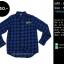 C1148 เสื้อลายสก๊อต ผู้ชาย สีน้ำเงิน แนว Biker thumbnail 2
