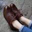 [มี2สี] รองเท้าบูทส้นเตี้ย สไตล์อังกฤษ ทรงย้อนยุค แฟชั่นหนังแท้+หนัง pu แต่งพู่ด้านหน้า ส้นสูง 1.5 นิ้ว thumbnail 1