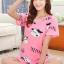 ชุดนอนน่ารักแขนสั้นลายวัว milk สีชมพู thumbnail 1