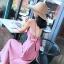 [พร้อมส่ง] เดรสสายเดี่ยว สีชมพู กระโปรงยาวพริ้วสวย ผูกโบว์ด้านหลัง ทรงสวยสไตล์โบฮีเมียน thumbnail 1