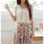 K1068 หมดค่ะ เดรสสวยๆจร้า เสื้อชีฟองสีครีมกระโปรงลายดอกไม้ thumbnail 1