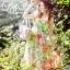 K705 *หมดค่ะ* เดรสตัวยาวสีเขียว ผ้าชีฟองลายดอกไม้สวยๆค่ะ thumbnail 1