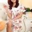 ชุดนอนเกาหลีขาสั้นลายดอกไม้ set 1 สีชมพู thumbnail 1