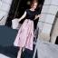 ชุดเซต เสื้อยืดสีดำ+กระโปรงยาวเกาหลี สีชมพู พริ้วสวย thumbnail 1